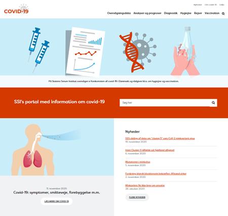 Screendump af forsiden på SSI's hjemmeside om covid-19